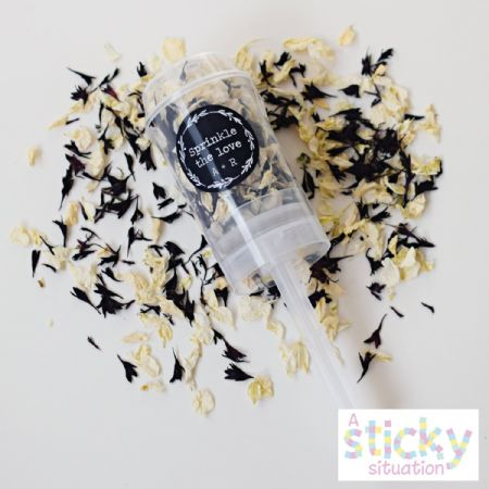 Personalised Real Delphinium Petal Confetti Push Pops - Black and White Mix